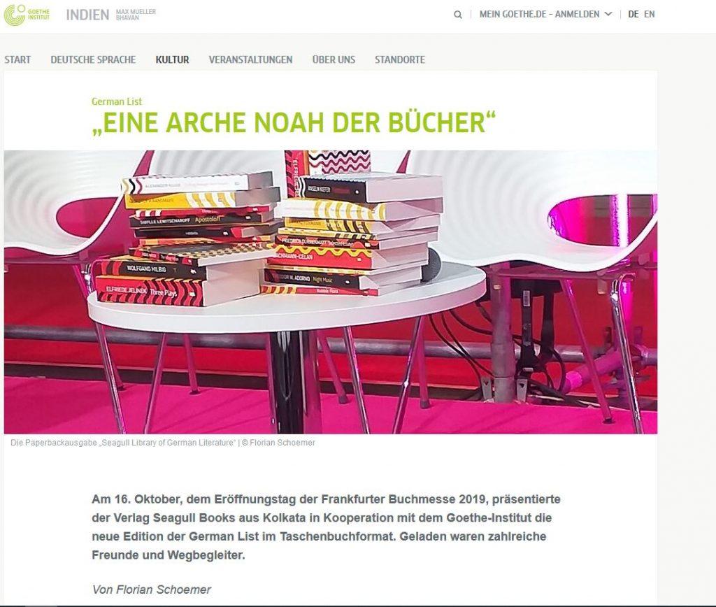 Frankfurter Buchmesse 2019 Seagull Goethe Institut